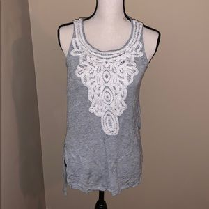 Gray with white lace front tank